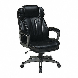 "Black Eco Leather Desk Chair 27-1/2"" Back Height, Arm Style: Fixed"