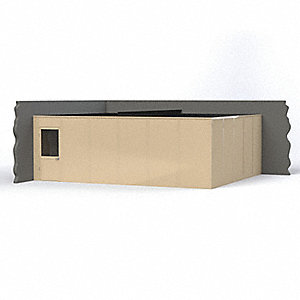 Modular In-Plant Office, Unassembled 2-Wall, 8 ft. Height, 24' Width, 20 ft. Depth