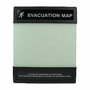 Evacuation Map Holder,8-1/2 in. x 11 in.