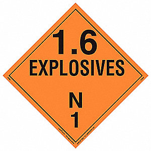 Placard,10-3/4in H,Explosives,PK10