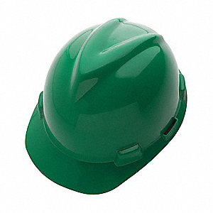 Front Brim Hard Hat, 4 pt. Ratchet Suspension, Green, Hat Size: 6-5/8 to 7-3/4