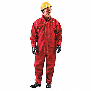 Collared Coverall,Hook-and-Loop,Red,XL
