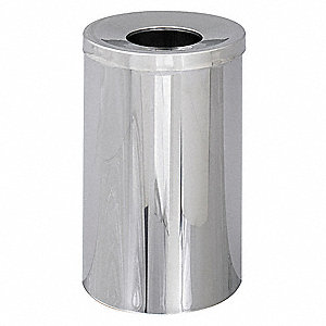 Trash Can,Round,35 gal.,Silver