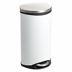 Wastebasket,Elliptical,7-1/2 gal.,White