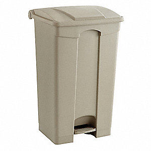 Trash Can,Rectangular,23 gal.,Tan