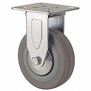 Plate Caster,Rigid,Rubber,4 in.,176 lb.