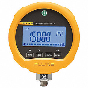 "-14 to 0 to 10,000 psi Digital Compound Gauge, 3-3/4"" Dial, 1/4"" MNPT Connection, Metal"