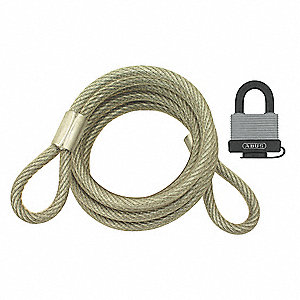 Braided Steel Steel Cable with Padlock, 6' x 5/32""