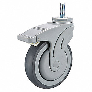 Swivel Stem Caster w/Totl Lk,5 in,300 lb
