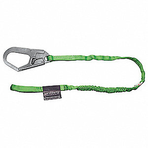 Stretchable Shock-Absorbing Lanyard, Number of Legs: 1, Working Length: 6 ft., Harness Hook Type: Sn