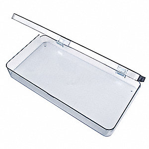 "Storage Box, Clear, 1-11/16""H x 6-3/16""L x 12-3/16""W, 1EA"