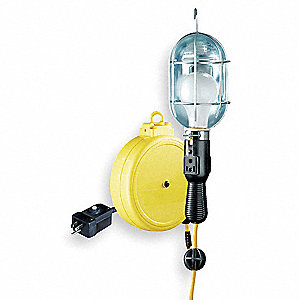 20 ft. Indoor General Purpose Extension Cord Reel with Hand Lamp, Yellow&#x3b; Handle: Switch with Side O