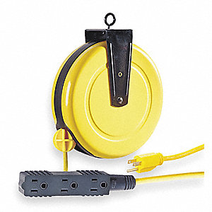 Yellow Retractable Cord Reel, 10 Max. Amps, Cord Ending: Triple Tap Connector, 30 ft. Cord Length