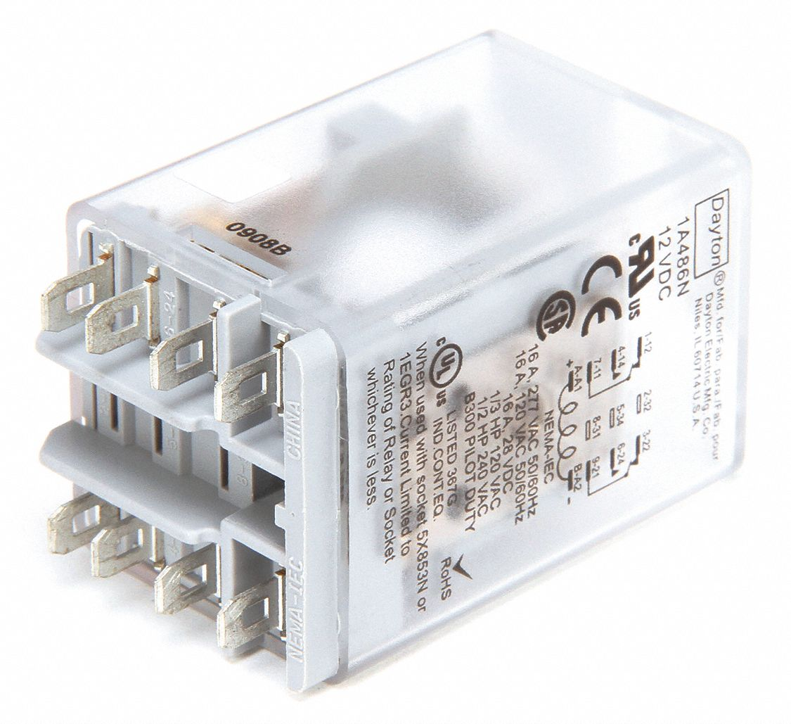 12VDC Coil Volts, General Purpose Relay, 10A @ 277VAC/10A @ 28VDC Contact  Rating, Square