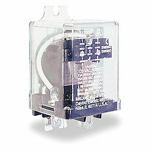 "24VDC, 8-Pin Side Flange Enclosed Power Relay&#x3b; Electrical Connection: 1/4"" Tab Terminal"