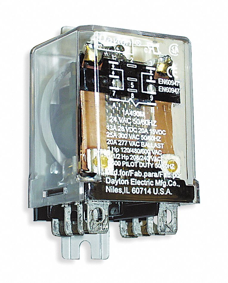DAYTON 24VAC 8Pin Side Flange Enclosed Power Relay Electrical