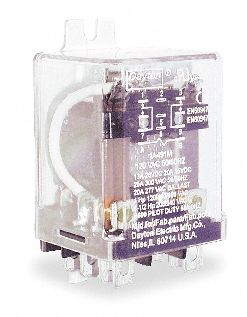 DAYTON 120VAC 8Pin Side Flange Enclosed Power Relay Electrical