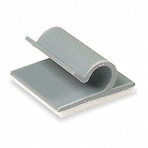 Cable Clip, Side Entry, Adhesive Backed, Gray, 25 PK