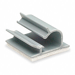Cable Clip, Locking, Adhesive Backed, Gray, 25 PK