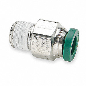 "Nickel Plated Brass Male Connector, 1/4"" Tube Size"