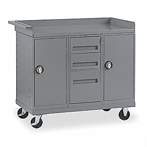 Gray Mobile Service Bench, 1000 lb. Load Capacity, (2) Rigid, (2) Swivel Caster Type