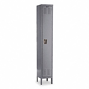 "Gray Wardrobe Locker, (1) Wide, (1) Tier Openings: 1, 15"" W X 15"" D X 78"" H"