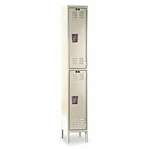 "Parchment Wardrobe Locker, (1) Wide, (2) Tier Openings: 2, 15"" W X 15"" D X 78"" H"