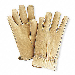 Pigskin Drivers Gloves, Shirred Wrist Cuff, Tan, Size: M, Left and Right Hand