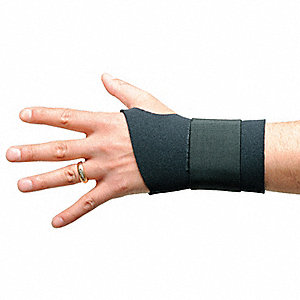 "Black Single Strap Wrist Support, Ergonomic Support Size: M, Fits 6 to 7"", Wrist: Ambidextrous"