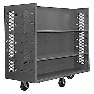 "30""L x 60""W x 57""H Gray Steel 2 Sided Mesh Stock Cart, 2000 lb. Load Capacity, Number of Shelves: 6"