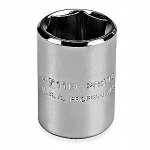 "7mm Steel Socket with 1/4"" Drive Size and Polished Finish"