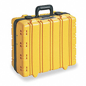 "Insulated Tool Case, Yellow Vinyl, 15-3/8"" Height, 18-7/8"" Width, 8-1/4"" Depth"