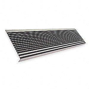 "Black, Extruded Aluminum Stair Tread Cover, Installation Method: Fasteners, Beveled Edge Type, 48"" W"