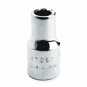 Socket,1/2 in. Dr,16mm,12 Pt.