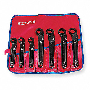 Flare Nut Ratcheting Wrench Set, SAE, Number of Pieces: 7, Number of Points: 12