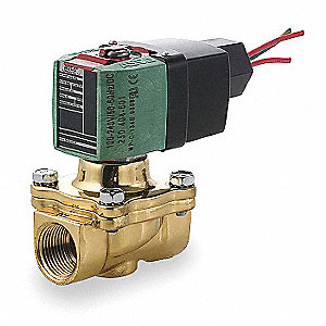 "100 to 240VAC/DC Brass Solenoid Valve, Normally Closed, 3/4"" Pipe Size"