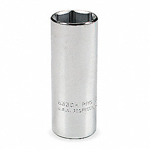 "9/16"" Steel Socket with 1/2"" Drive Size and Polished Finish"