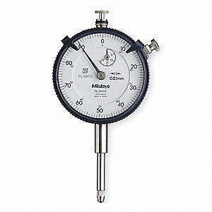 "Continuous Reading Dial Indicator, AGD 2, 2.190"" Dial Size, 0 to 20mm Range"
