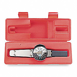 "Plain-Handle Dial Torque Wrench, 1/4"" Drive Size, 1 in.-lb. Primary Scale Increments, 10"""