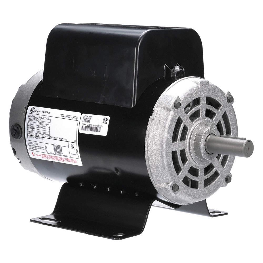 5 HP Light Duty Air Compressor Motor,Capacitor-Start/Run,3450 Nameplate  RPM,208-230 Voltage
