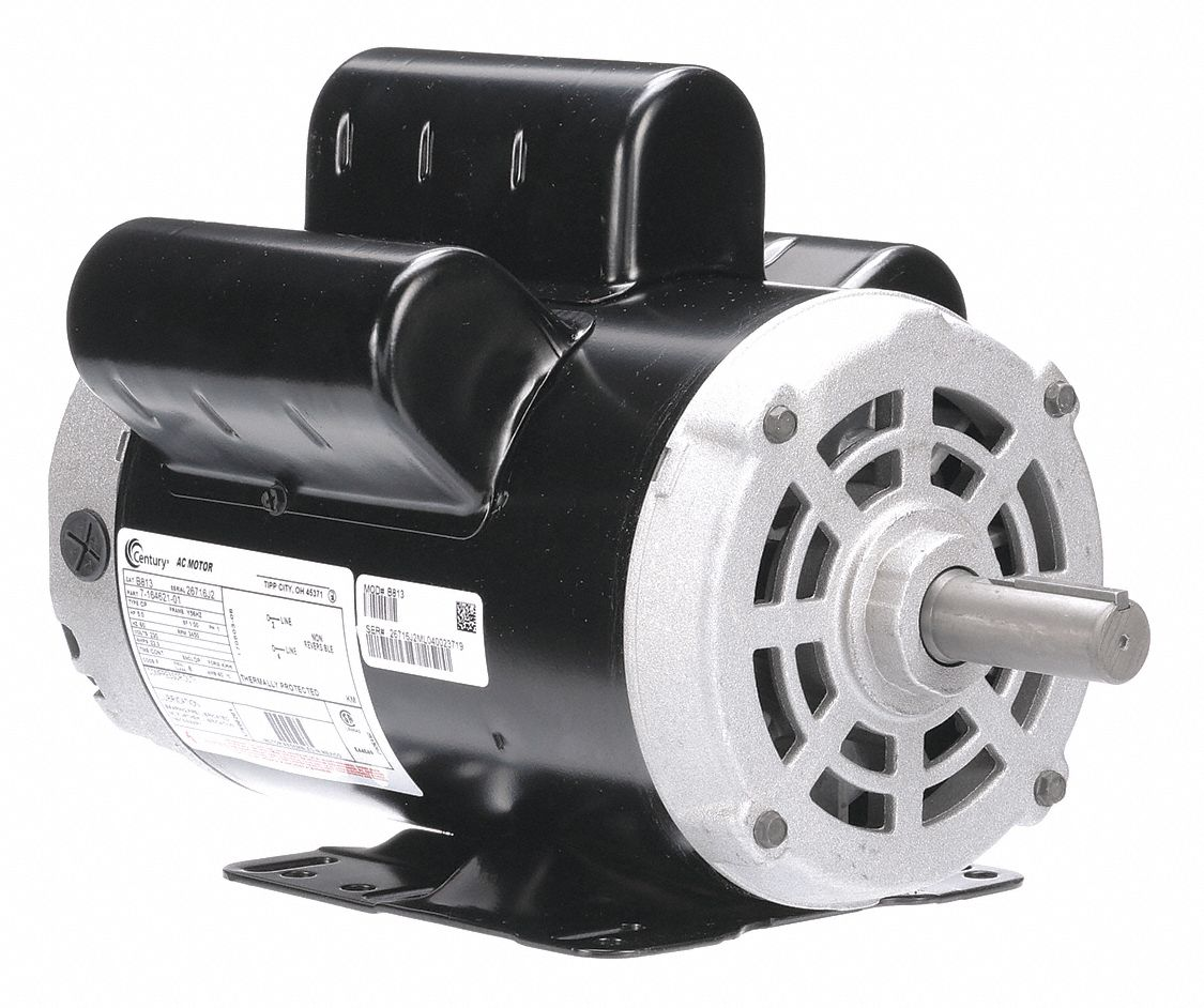 CENTURY 5 HP Light Duty Air Compressor Motor,Capacitor-Start/Run,3450  Nameplate RPM,230 Voltage - 1ATA9|B813 - Grainger