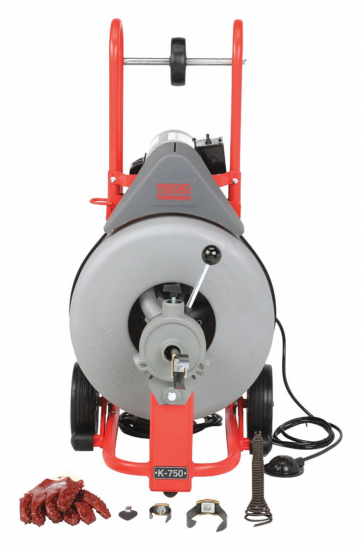 Drain Cleaning Machine,  Drain Line I.D. Size Range 3 in to 8 in,  Max. Run 200 ft