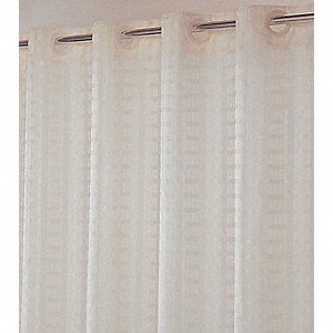 "74""H x 71""W Polyester Shower Curtain, Beige, Hookless"