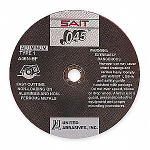 "6"" Type 1 Aluminum Oxide Abrasive Cut-Off Wheel, 7/8"" Arbor, 0.045""-Thick, 10,200 Max. RPM"