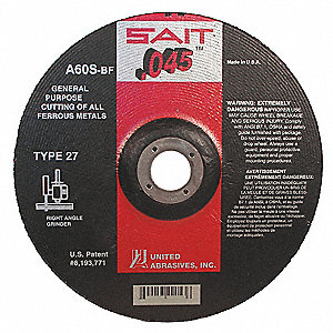 "4-1/2"" Type 27 Aluminum Oxide Depressed Center Wheels, 7/8"" Arbor, 0.045""-Thick, 13,300 Max. RPM"