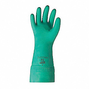 "Chemical Resistant Gloves, Size 9, 15""L, Green ,  1 PR"