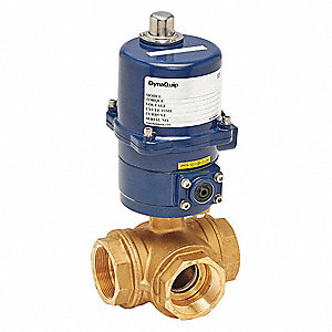 "Brass Electronic Actuated Ball Valve, 2"" Pipe Size, 120VAC Voltage"