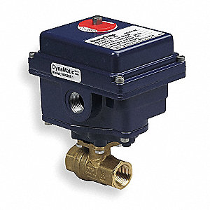 "Brass Electronic Actuated Ball Valve, 3/4"" Pipe Size, 12VDC, 24VAC/VDC Voltage"