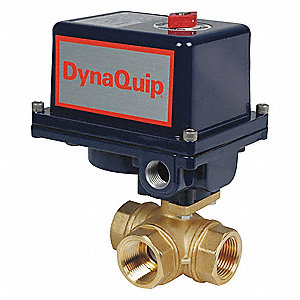 "Brass Electronic Actuated Ball Valve, 1-1/2"" Pipe Size, 120VAC Voltage"