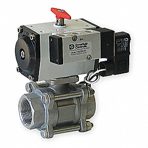 "1/2"" Spring Return - Fail Close Pneumatic Actuated Ball Valve, 3-Piece"